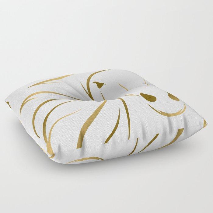 Golden Horse Drawing Floor Pillow