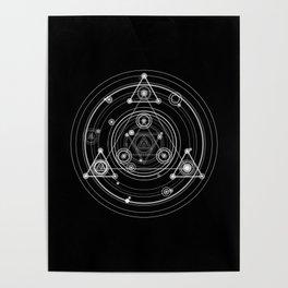 Sacred geometry black and white geometric art Poster