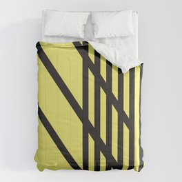 Yellow with Black Criss Cross Stripes CVS0099  Comforters
