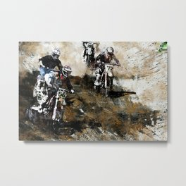 """Dare to Race"" Motocross Dirt-Bike Racers Metal Print"