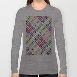 1980s hip hop pop culture colorful pattern cassette tape Long Sleeve T-shirt