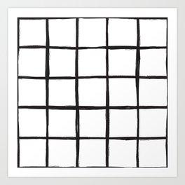 Black and white plaid, pool tiles pattern, tartan Art Print