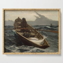The Fog Warning / Halibut Fishing by Winslow Homer Serving Tray