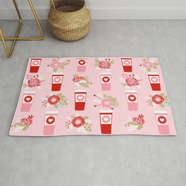 Coffee valentines day florals cute coffee lovers gifts that say i love you Rug