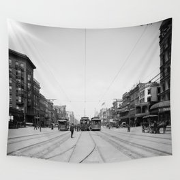 Vintage Canal Street New Orleans Streetcars 1907 Wall Tapestry