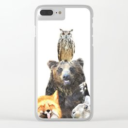 Woodland Animal Friends Clear iPhone Case