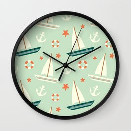 cute colorful sailboat pattern with anchor and lifebuoy Wall Clock