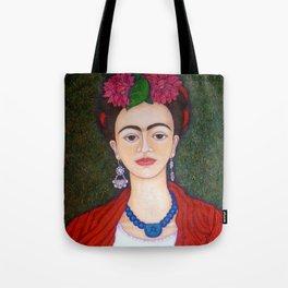 Frida Kahlo portrait with dalias Tote Bag