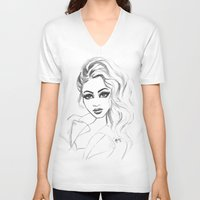 80s V-neck T-shirts featuring 80s hair by Rose Richey