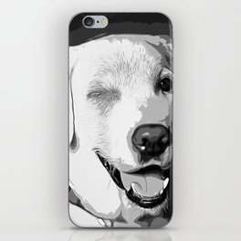labrador retriever dog winking vector art black white iPhone Skin