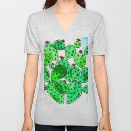 Cacti with marble sky Unisex V-Neck