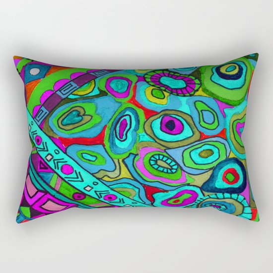Abstract ethnic pattern in blue and turquoise tones . Rectangular Pillow