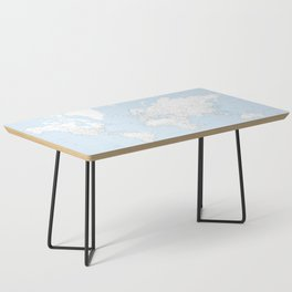 World map, highly detailed in light blue and white, square Coffee Table