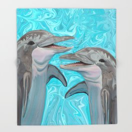 Dolphin Chatter Throw Blanket