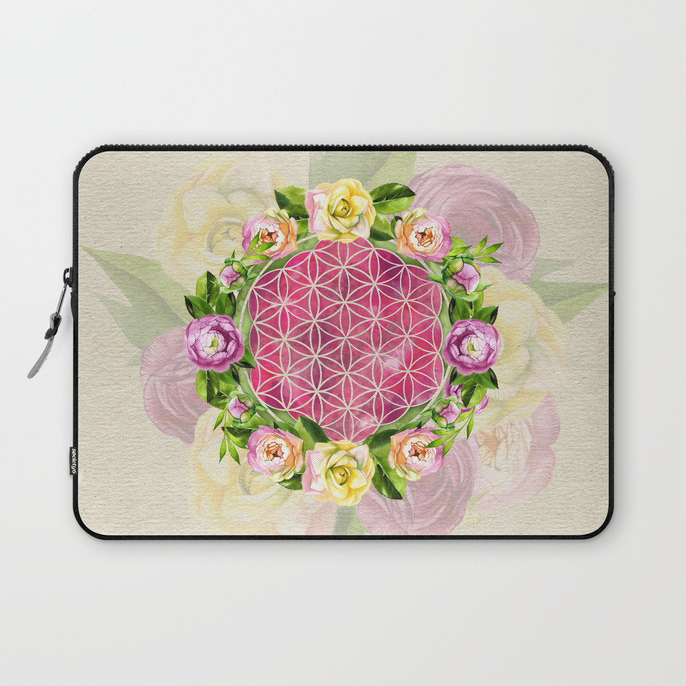 Flower Of Life In Watercolor Flower Wreath Laptop Sleeve LSV8792342