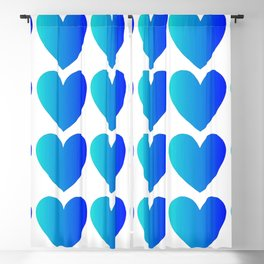 Love Hearts Classic Blue Ombre Blackout Curtain