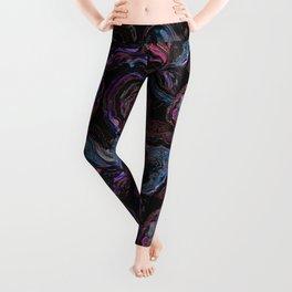 Magenta purple cut stone marble pattern Leggings