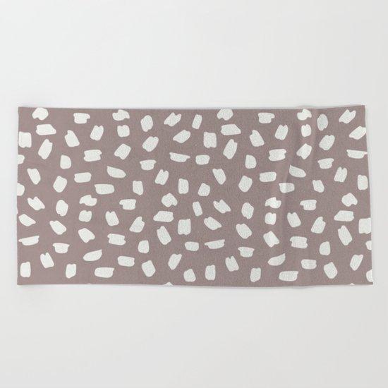 Simply Ink Splotch Lunar Gray on Red Earth Beach Towel