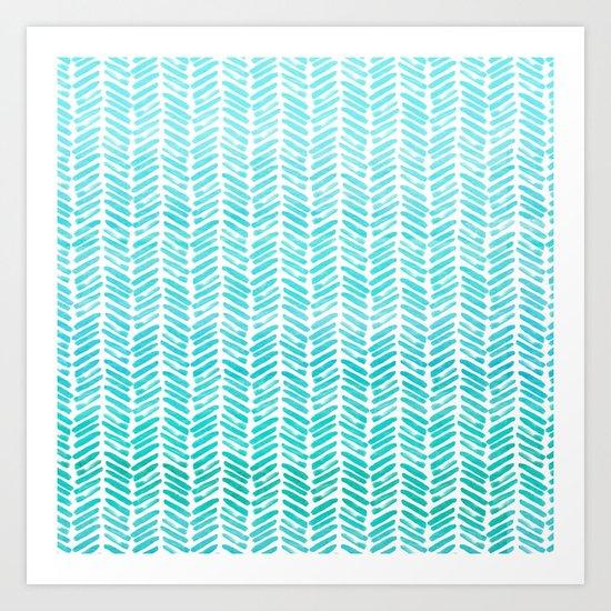 Handpainted Chevron pattern-small-light green and aqua teal Art Print