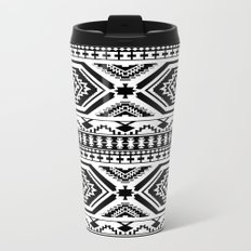 Aztec Geometric Print - Black Travel Mug
