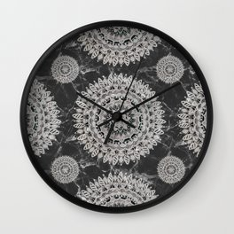 Black Marble and Pearl White Opaque Mandala Textile Wall Clock