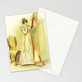 Harp, old book illustration, vintage poster Stationery Cards