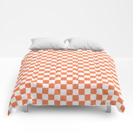Living Coral Color Checkerboard Comforters