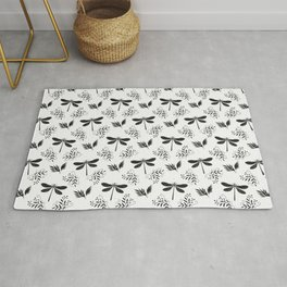 Pretty beautiful cute black dragonflies, delicate little leaves elegant classy stylish white pattern Rug