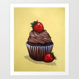 Chocolate Cupcake With Strawberries on Yellow Backgound Art Print
