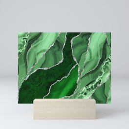 Emerald Green And Silver Marble Waves #society #buyart Mini Art Print