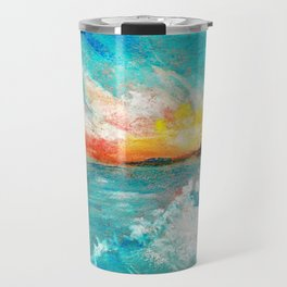 Blazing sunset in the sea Bay drawing by pastel Travel Mug