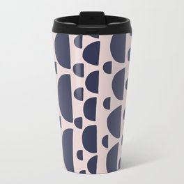 Half moon vertical geometric print - Navy Metal Travel Mug