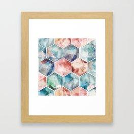Earth and Sky Hexagon Watercolor Framed Art Print