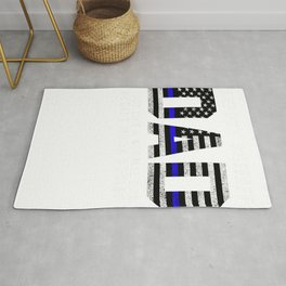 Deputy Sheriff Dad Much Cooler Fathers Day Thin Blue Line T-Shirt Rug