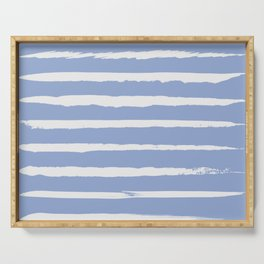 Irregular Hand Painted Stripes Light Blue Serving Tray