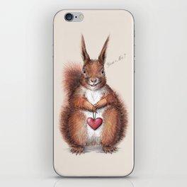 Squirrel heart love iPhone Skin