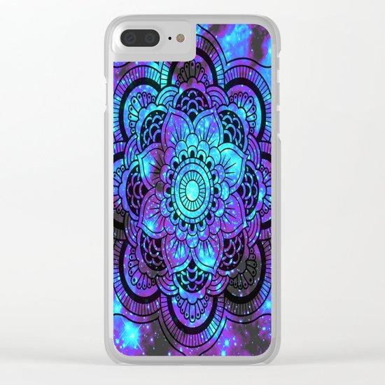 Mandala : Bright Violet & Teal Galaxy 2 Clear iPhone Case
