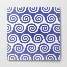 Wave Pattern Blue Metal Print