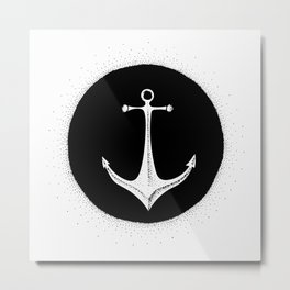 Anchor Point (black on white) Metal Print