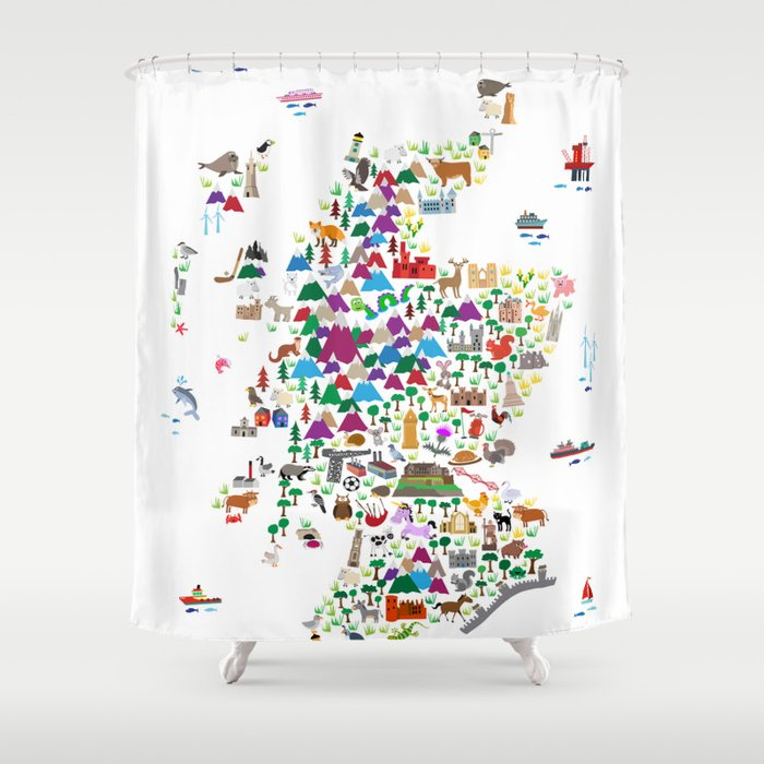 Animal Map of Scotland for children and kids Shower Curtain
