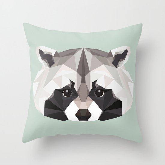 R is for Raccoon Throw Pillow