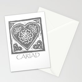 Cariad, darling sweetheart Welsh lino print grey Stationery Cards