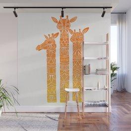 Giraffes – Orange Ombré Wall Mural