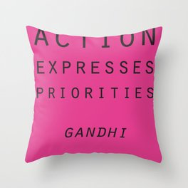 Action Gandhi Quote Throw Pillow