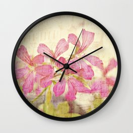 Vintage Whimsical Watermelon Pink Summer Geraniums in the City Montage Collage _  très chic Wall Clock