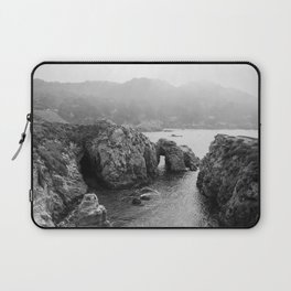 Ocean Arches | Black and White Nature Landscape Photography in California Laptop Sleeve