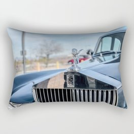 Vintage Car // Rolls Blue Paint Hood Ornament Silver Grille Classic Rectangular Pillow