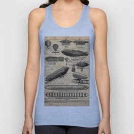 Vintage Hot Air Balloon Study Unisex Tank Top