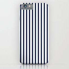 Navy Blue Breton Vertical Stripes Lines Minimal Stripe Line iPhone Case