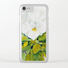 White Pansy Clear iPhone Case